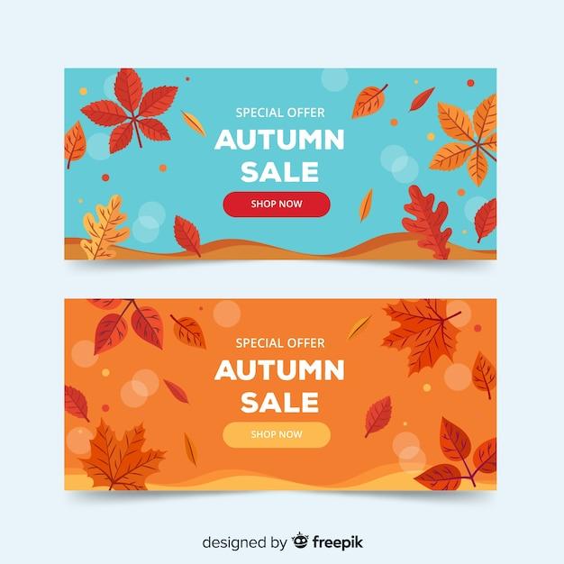 Coleção de design plano de vendas de outono bandeira Vetor grátis