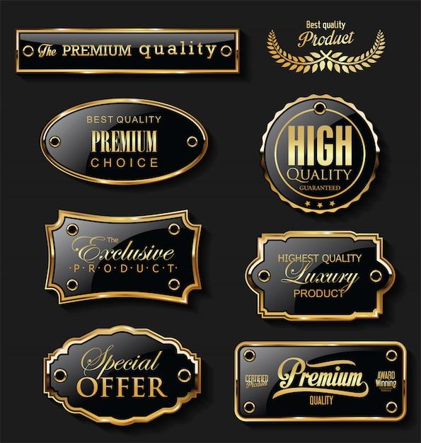 Coleção de design retro vintage com etiquetas de venda em ouro e preto Vetor Premium