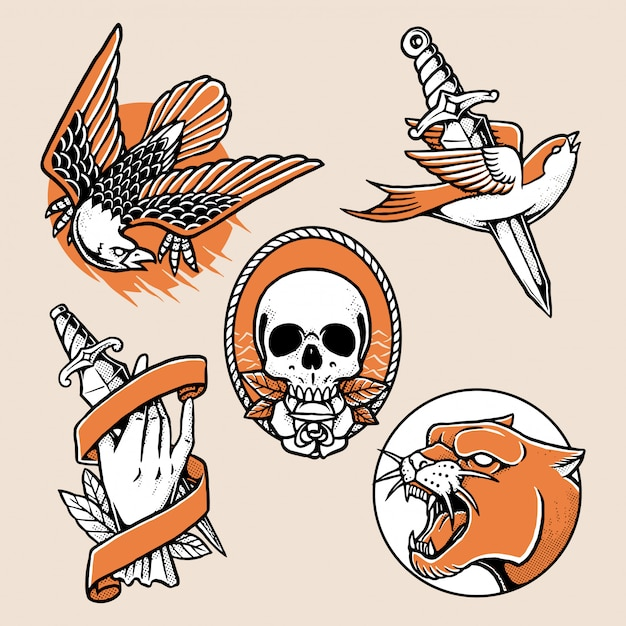 Coleção de design tradicional de tatuagem Vetor Premium