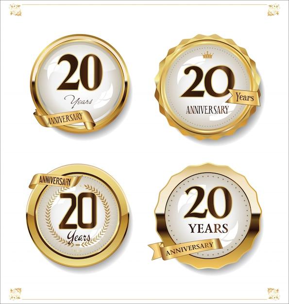 Coleção de design vintage retrô de rótulos dourados de aniversário Vetor Premium