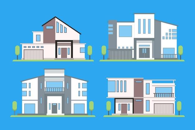Coleção de diferentes casas modernas Vetor grátis