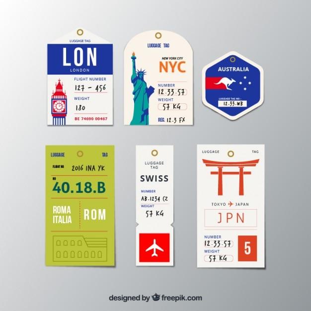 Coleção de diferentes cidades tag Vetor Premium