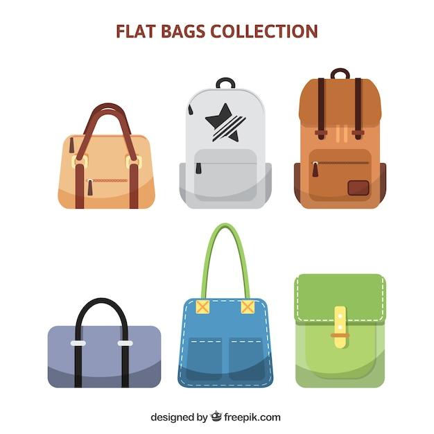 Coleção de diferentes tipos de sacos Vetor Premium