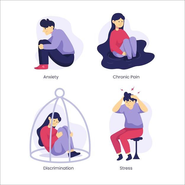 Coleção de diferentes transtornos mentais de design plano Vetor grátis