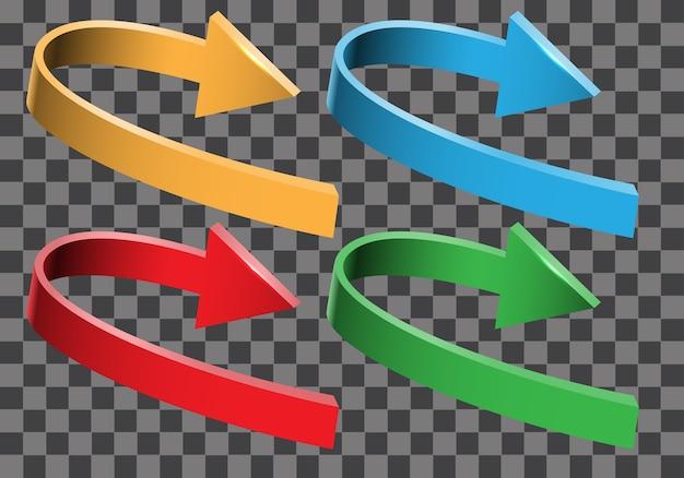 Coleção de direção de curva 3d seta cor definida Vetor Premium