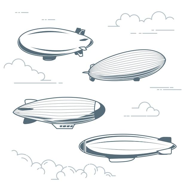 Coleção de dirigíveis antigos - balões de ar quente, dirigíveis e dirigíveis Vetor Premium