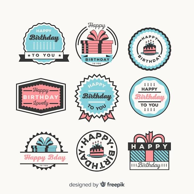 Coleção de distintivo de aniversário Vetor grátis