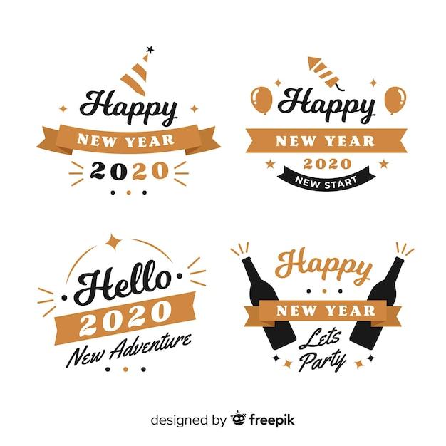 Coleção de distintivo de ano novo design plano Vetor grátis