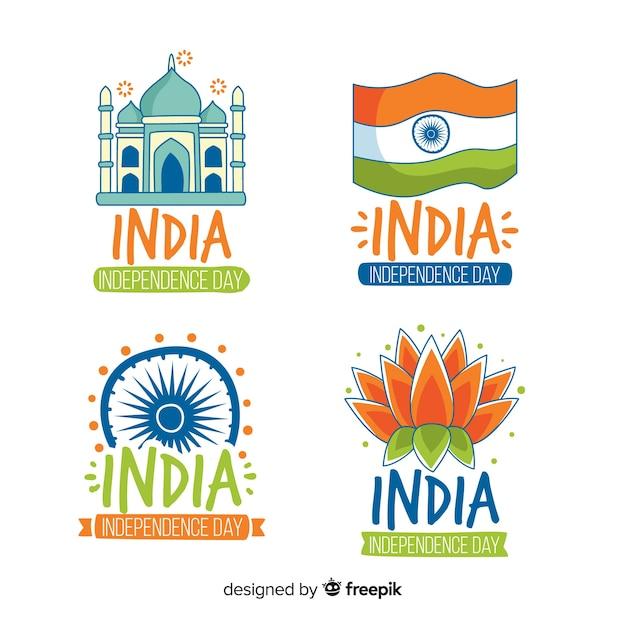 Coleção de distintivo de dia da independência de índia Vetor grátis