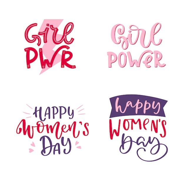 Coleção de distintivo de dia das mulheres letras Vetor grátis
