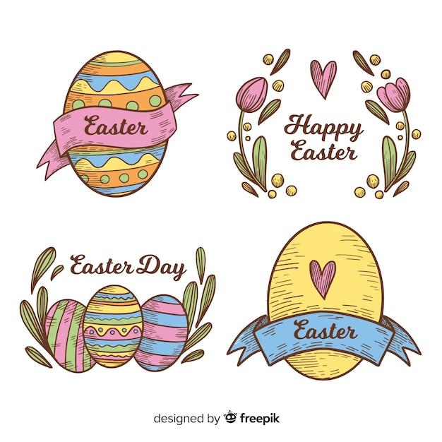 Coleção de distintivo de dia de páscoa Vetor grátis