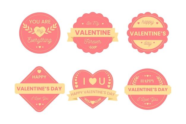 Coleção de distintivo de dia dos namorados em design plano Vetor grátis