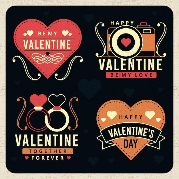 Coleção de distintivo de dia dos namorados vintage Vetor grátis