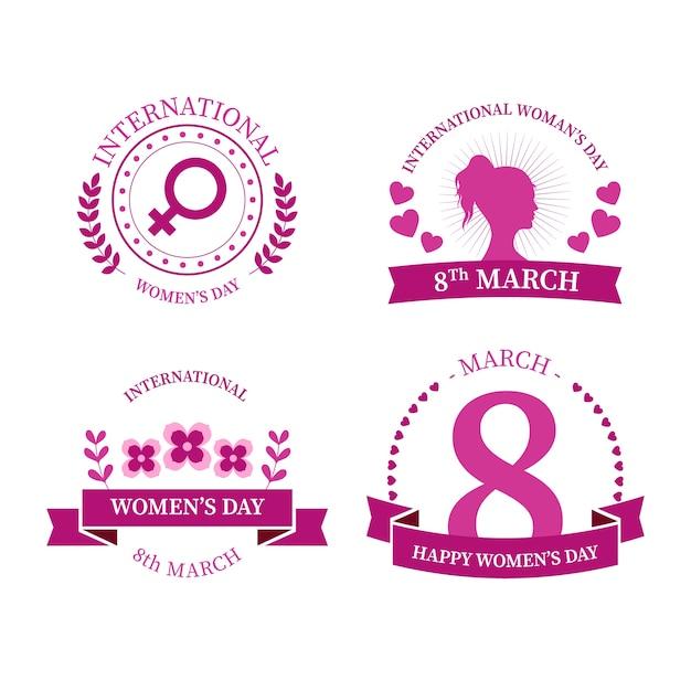 Coleção de distintivo de dia internacional da mulher Vetor grátis