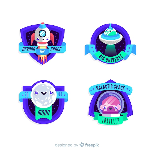 Coleção de distintivo de espaço colorido com design plano Vetor grátis