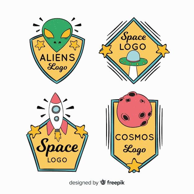 Coleção de distintivo de espaço colorido mão desenhada Vetor grátis