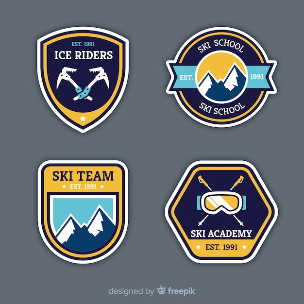 Coleção de distintivo de esporte de inverno Vetor grátis