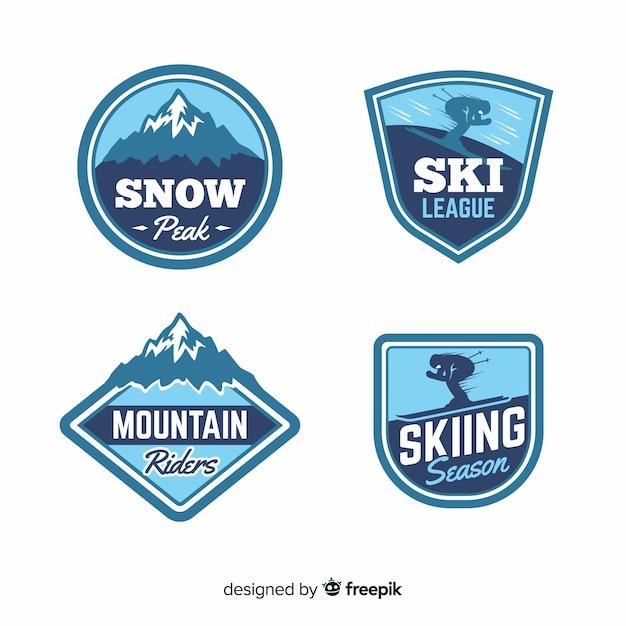 Coleção de distintivo de esqui e neve vintage Vetor grátis