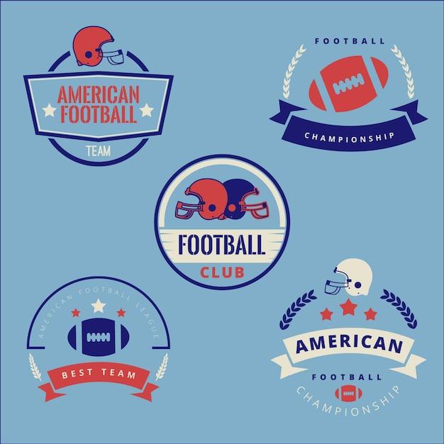 Coleção de distintivo de futebol americano retrô Vetor grátis