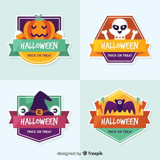 Coleção de distintivo de halloween design plano Vetor grátis