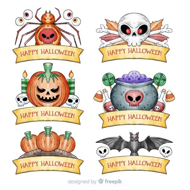 Coleção de distintivo de halloween em aquarela Vetor grátis