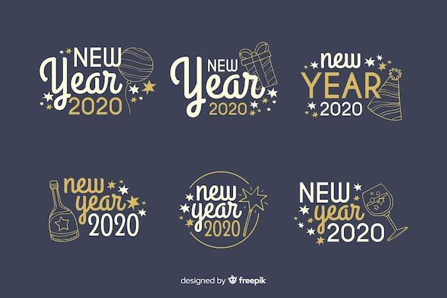 Coleção de distintivo de mão desenhada ano novo 2020 Vetor grátis