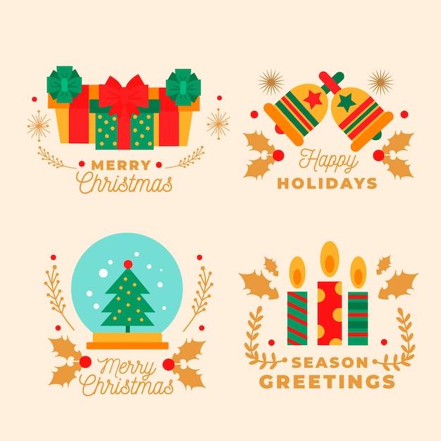 Coleção de distintivo de natal de design plano Vetor grátis