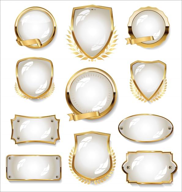 Coleção de distintivo de ouro e branco e rótulos Vetor Premium