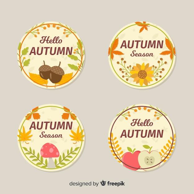Coleção de distintivo de outono design plano Vetor grátis