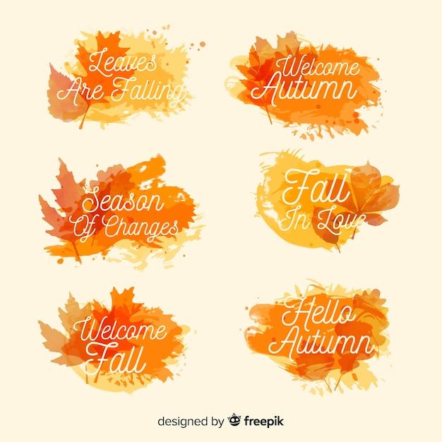 Coleção de distintivo de outono estilo aquarela Vetor grátis