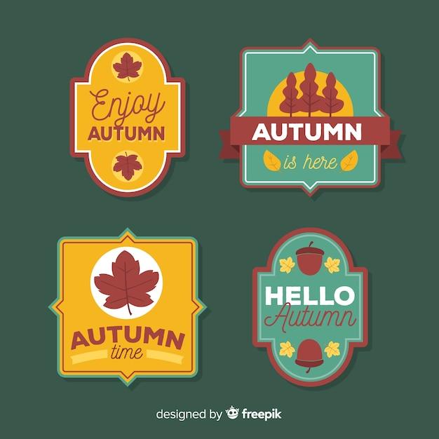 Coleção de distintivo de outono estilo vintage Vetor grátis