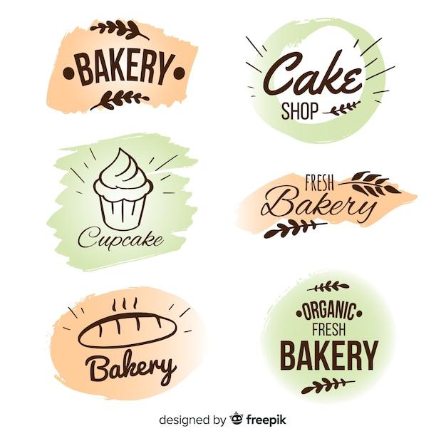 Coleção de distintivo de padaria desenhada de mão Vetor grátis