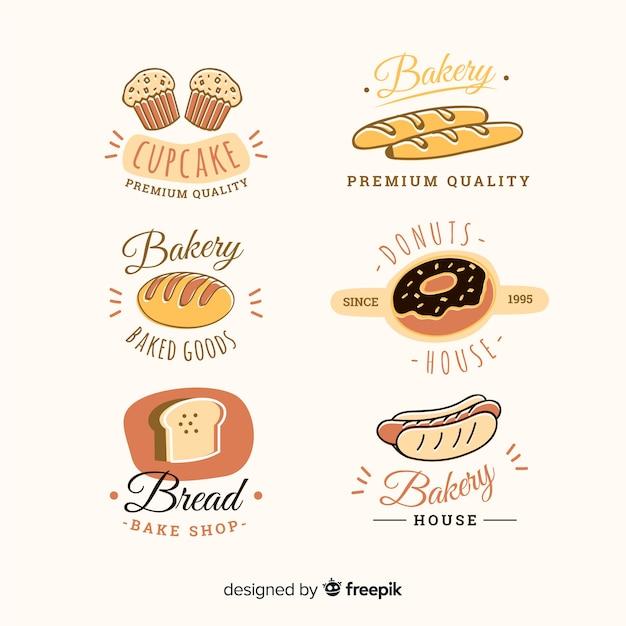 Coleção de distintivo de padaria desenhada de mão Vetor Premium