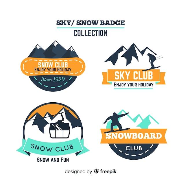 Coleção de distintivo de snowboard Vetor grátis