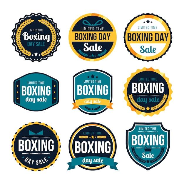 Coleção de distintivo de venda de dia de boxe de design plano Vetor Premium