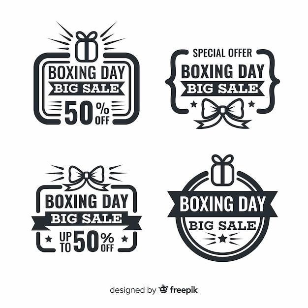 Coleção de distintivo de venda de dia de boxe vintage Vetor grátis