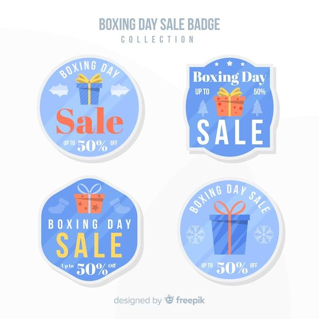 Coleção de distintivo de venda de dia de boxe Vetor grátis