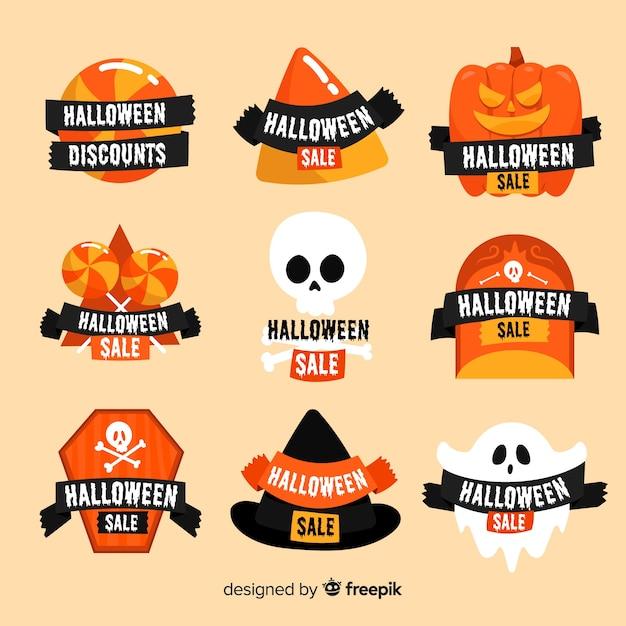 Coleção de distintivo de venda de halloween plana Vetor grátis