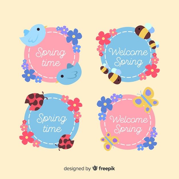 Coleção de distintivo de venda de primavera Vetor grátis