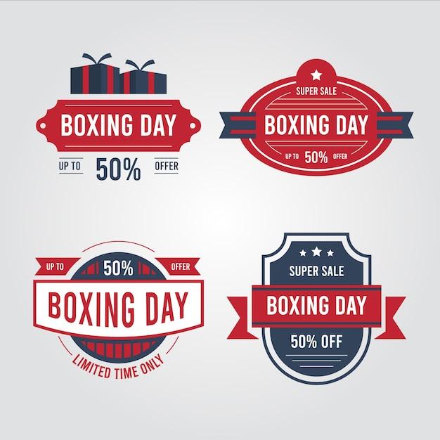 Coleção de distintivo de venda vintage dia de boxe Vetor grátis