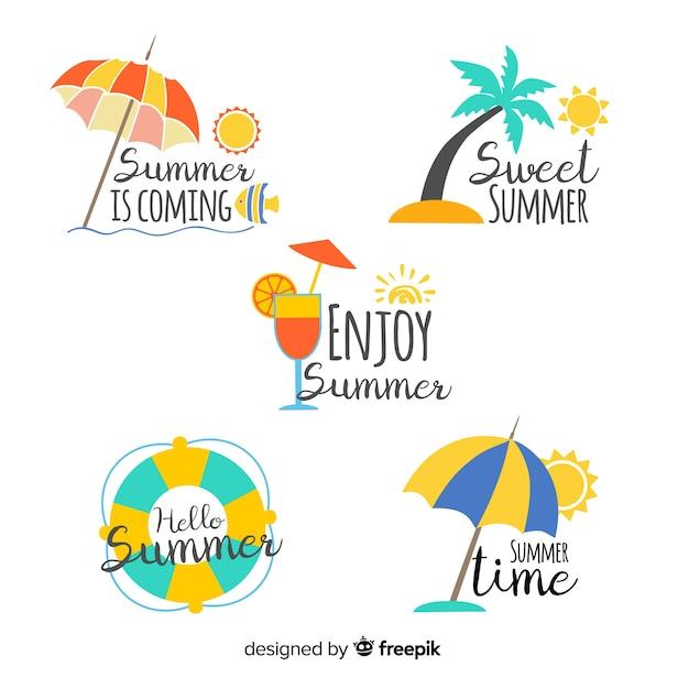 Coleção de distintivo de verão colorido mão desenhada Vetor grátis
