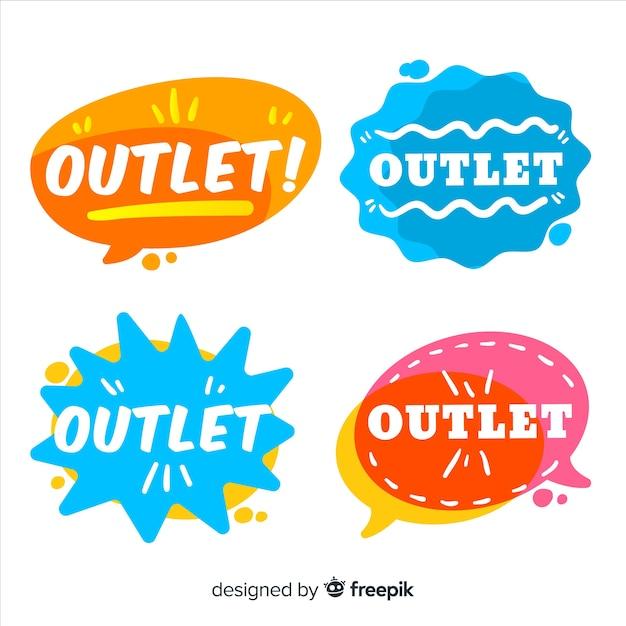 Coleção de distintivo moderno outlet com design plano Vetor grátis
