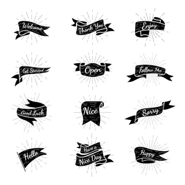 Coleção de distintivos de banner Vetor grátis