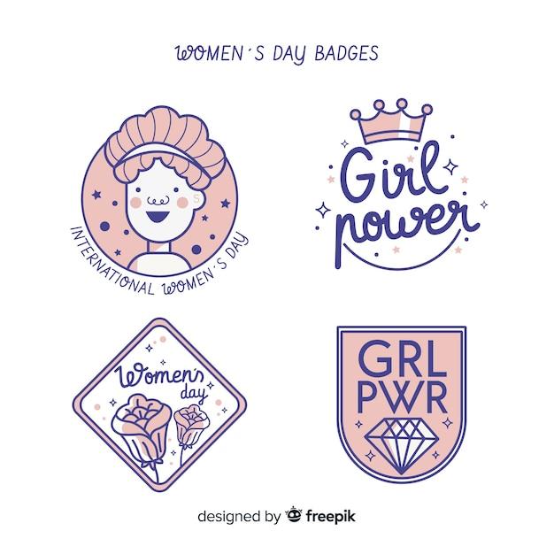 Coleção de distintivos de dia das mulheres Vetor grátis