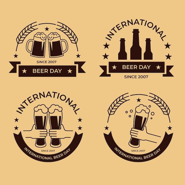 Coleção de distintivos de dia internacional da cerveja de design plano Vetor grátis