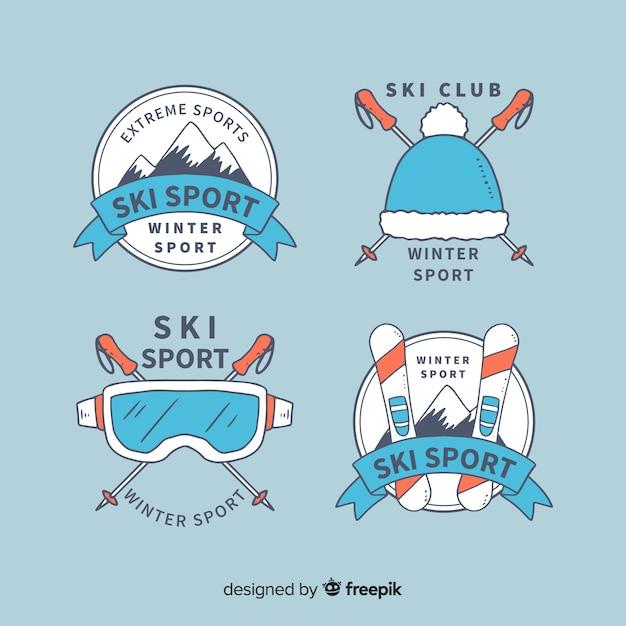 Coleção de distintivos de esporte de esqui Vetor grátis
