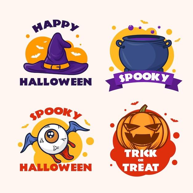Coleção de distintivos de halloween desenhada à mão Vetor Premium