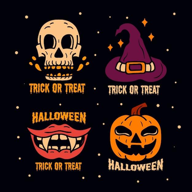 Coleção de distintivos de halloween em design plano Vetor grátis