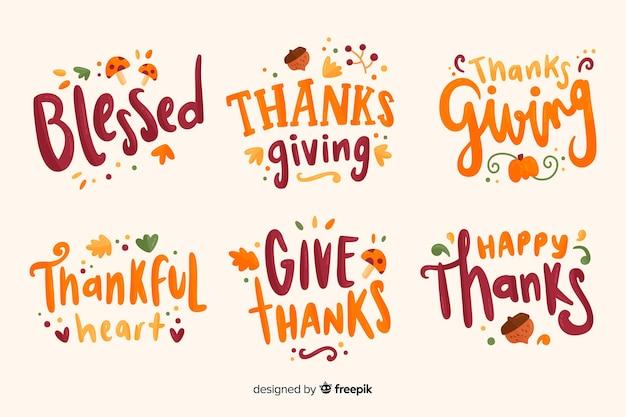 Coleção de distintivos de letras de ação de graças feliz Vetor grátis