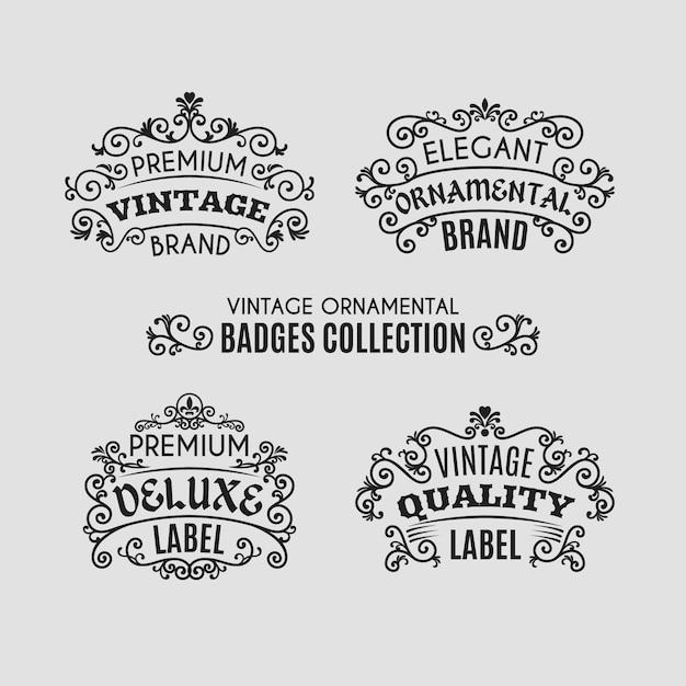 Coleção de distintivos ornamentais vintage Vetor Premium
